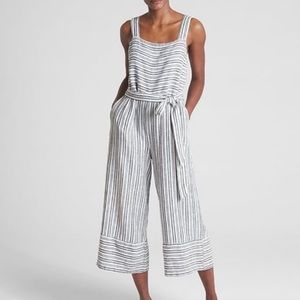 GAP Linen blend Striped Tie Waist Jumpsuit small